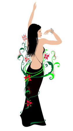 The abstract dansing girl in a flower frame.