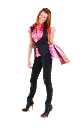 Beautiful girl with shopping bag. Stock Photo