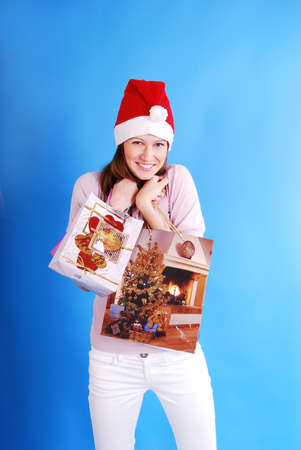 Shopping Christmas woman smiling. Stock Photo - 6101600
