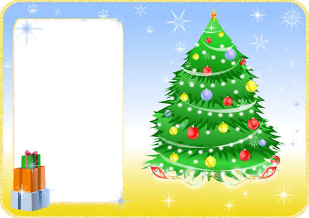 Color christmas card with tree and gifts. Stock Photo