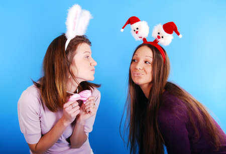 Two Christmas girls. Stock Photo - 7931137