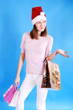 Shopping Christmas woman smiling. photo