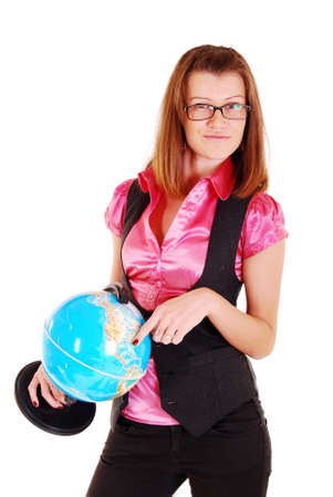 The beautiful girl, the teacher of geography with the globe. Stock Photo - 8239746