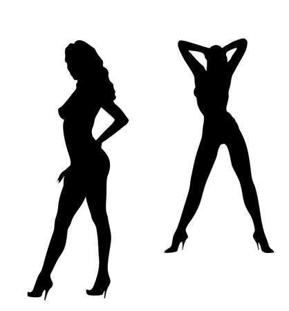 Beauty womans dancing striptease.