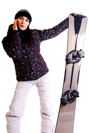 Portrait of a styled professional model with snowboard. photo