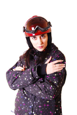 Young attractive woman in red motorcycle helmet. photo