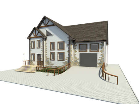 socle: Rural small house. 3D figure.