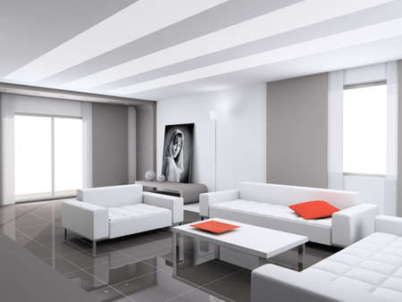 Modern interior. Qualitative design. A drawing room. 3D figure. Stock Photo - 483843