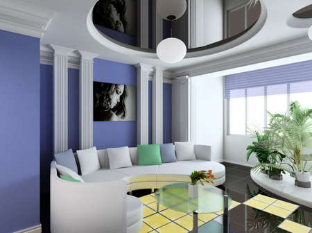 Modern interior. Qualitative design. A drawing room. 3D figure. Stock Photo - 483844