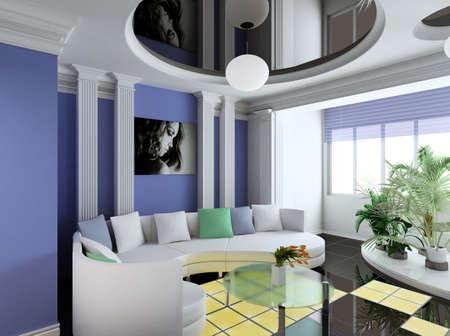 Modern interior. Qualitative design. A drawing room. 3D figure. Stock Photo - 483844