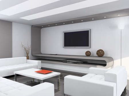 Modern interior. Qualitative design. A drawing room. 3D figure.
