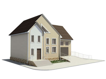 3D render. Little house. photo