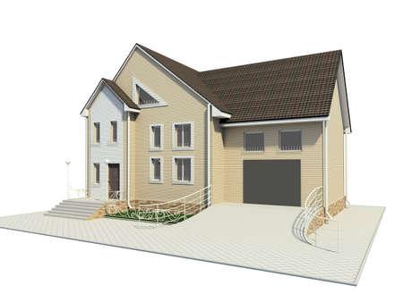 socle: 3D render. Little house.