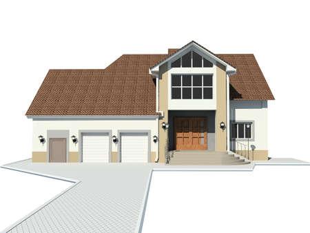 premise: 3D render. Little house.