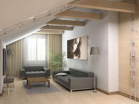 3D render. Modern interior. photo