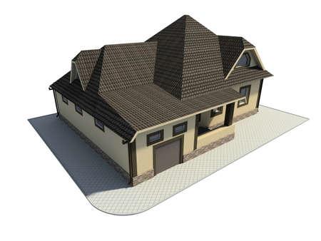 premise: 3D render. house.