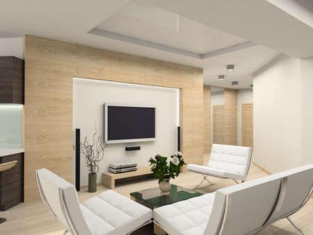 Modern inter.  Living-room. Exclusive design. Stock Photo - 1535958
