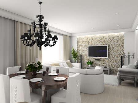 designers interior: living-room con il classico mobili. 3D rendering. Interni con TV.
