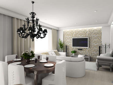 living-room with the classic furniture. 3D render. Interior with TV set.  Stock Photo