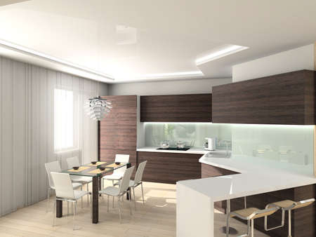 expensive granite: modern comfortable kitchen. 3D render. Hi-tech design