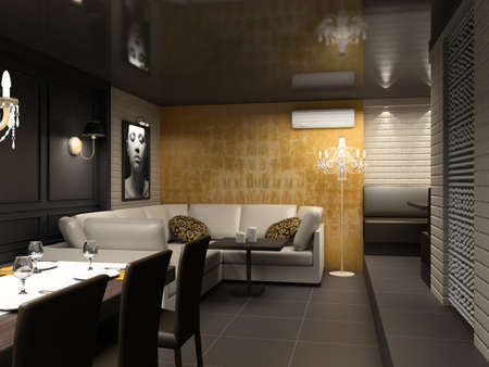 Modern interior with the fashionable picture. Design of dining-room.