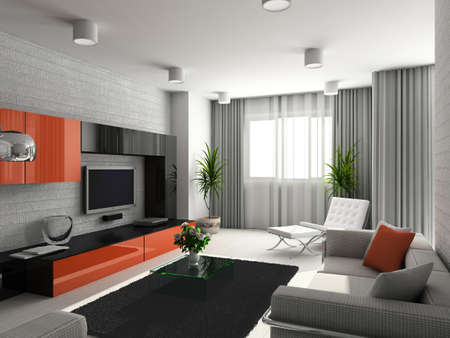 Modern interior. 3D render. Living-room. Exclusive design. Stock Photo - 1535962