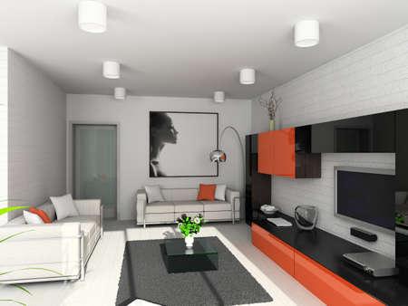 Modern interior. 3D render. Living-room. Exclusive design. Stock Photo - 1535961
