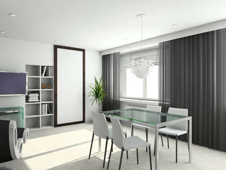 window shades: Modern interior from the best designer of Russia Stock Photo
