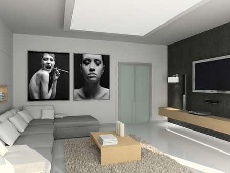 Modern interior. 3D render. Living-room. Exclusive design. Stock Photo - 1535957
