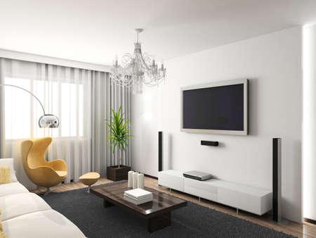 깔개: Modern interior. 3D render. Living-room. Exclusive design.