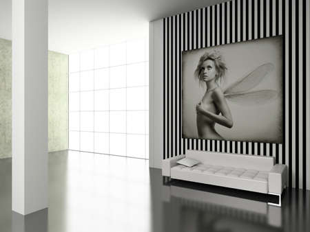 Modern interior with the fashionable picture. photo