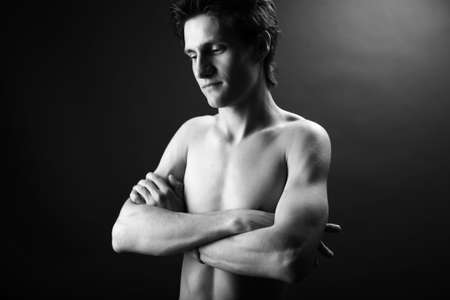 black and white photo of young attractive man Stock Photo - 4326971