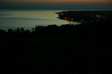 Night sea landscape. View from the mountain photo