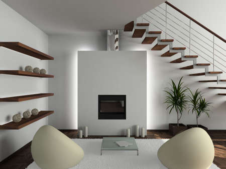 Modern design interior of living-room. 3D render Stock Photo - 4368036