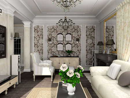 mantelpiece: living-room with the classic furniture. 3D render. Living-room.