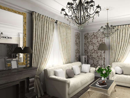living-room with the classic furniture. 3D render. Living-room. Stock Photo - 4368029