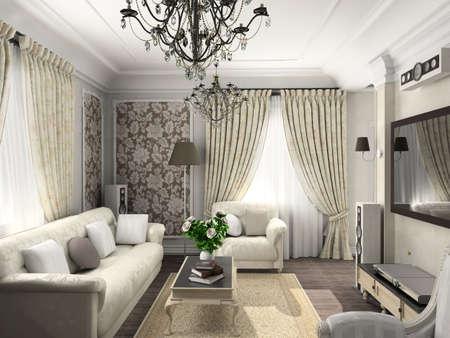깔개: living-room with the classic furniture. 3D render. Living-room.