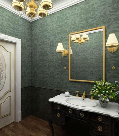 Classical design interior of bathroom. 3D render photo