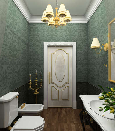 Classical design interior of bathroom. 3D render photo