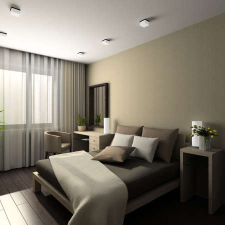 bedrooms: Iinterior of modern bedroom. 3D render