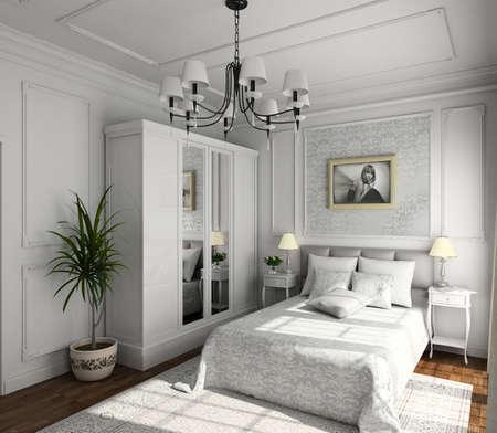 hotel bedroom: classic design of interior. Badroom. 3D render. Stock Photo