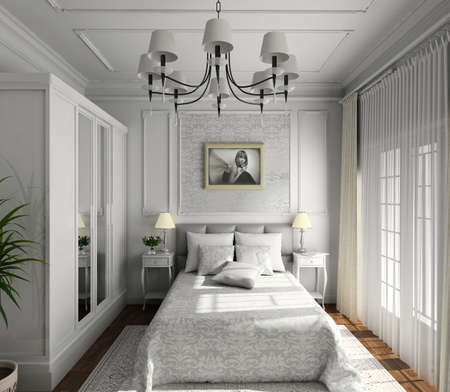 classic design of interior. Badroom. 3D render. Stock Photo