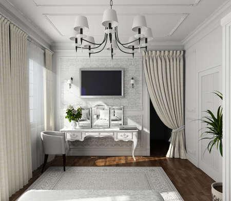 classic design of interior. Badroom. 3D render. photo