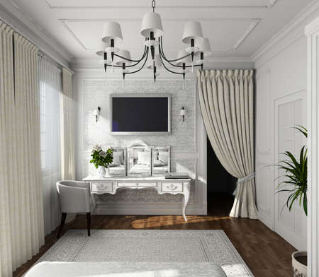 traditional plants: classic design of interior. Badroom. 3D render. Stock Photo