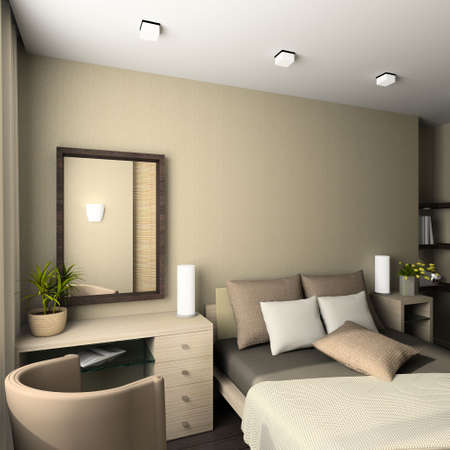 bedroom furniture: Iinterior of modern bedroom. 3D render