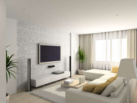 luxury room: Iinterior of modern living-room. 3D render