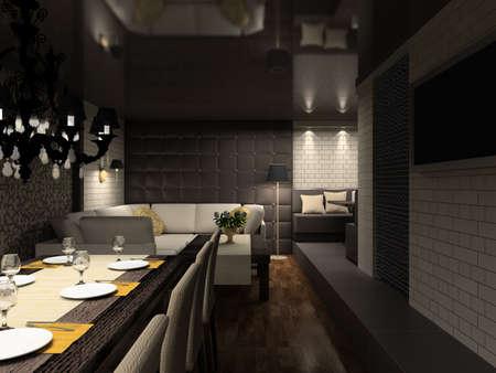 Modern design interior of cafe. 3D render photo