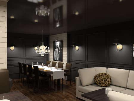 designers interior: Il design moderno di interni della sala da pranzo. 3D render