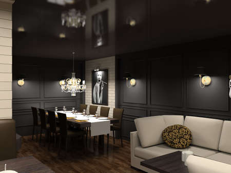 chandeliers: Modern design interior of dining-room. 3D render