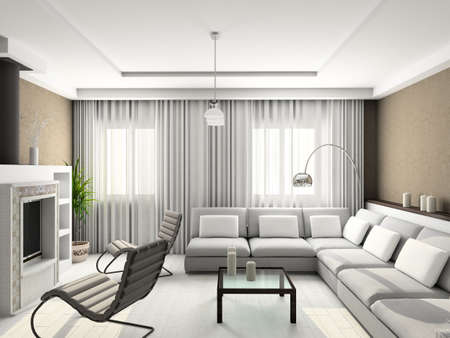 Modern design interior of living-room. 3D render Stock Photo - 4368097